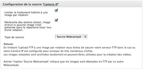 Configuration d'une caméra IP ou d'un autre Webcampak