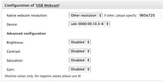 USB webcam configuration