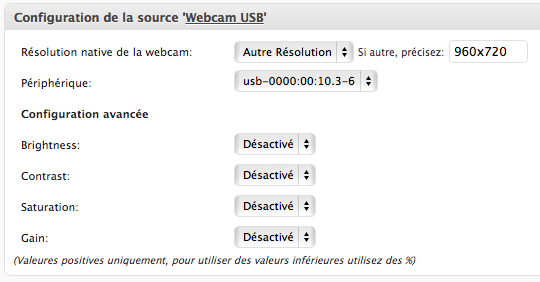 Configuration d'une webcam USB