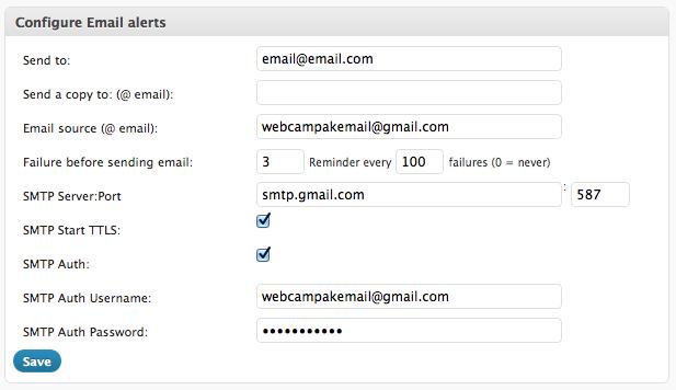 Configure e-mail alerts