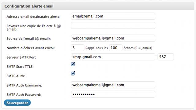 Configuration des paramètres e-mail