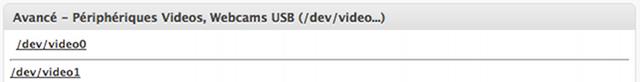 Webcams USB raccordés (avancé)