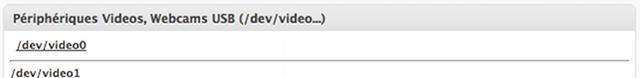 Webcams USB raccordées