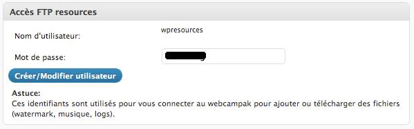 """Configuration du compte FTP """"ressources"""""""