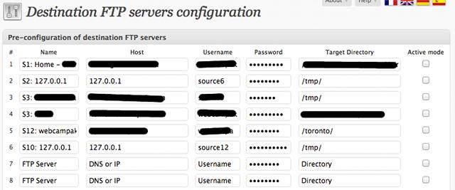 FTP servers configuration