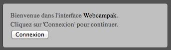 Invite de login du Webcampak