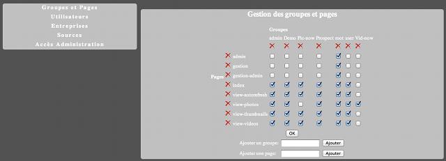 Gestion des groupes et pages