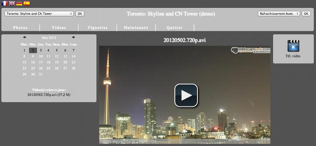 Affichage des vidéos générées par le Webcampak